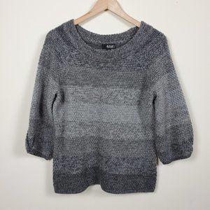 A.N.A. Striped 3/4 Sleeve Sweater Gray Size PM